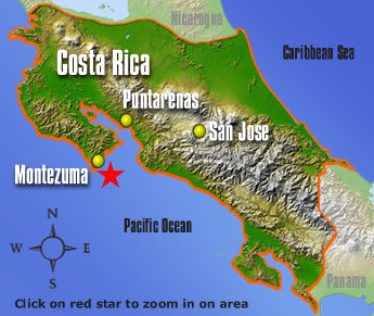 Map of Montezuma, Nicoya Peninsula, CR